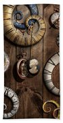 Steampunk - Clock - Time Machine Beach Towel by Mike Savad