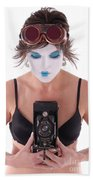 Steampunk Geisha Photographer II Beach Sheet