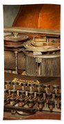 Steampunk - The History Of Typing Beach Towel by Mike Savad