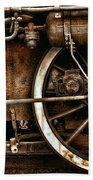 Steampunk- Wheels Of Vintage Steam Train Beach Towel