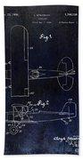 1929 Stearman Patent Drawing Blue Beach Towel