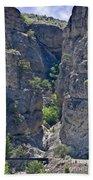 Steep Cliffs With Railroad Track Art Prints Beach Towel