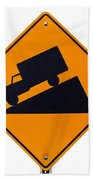 Steep Grade Hill Ahead Warning Road Sign On White Beach Towel