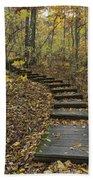 Step Trail In Woods 15 Beach Towel
