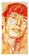 Stephen Hawking Portrait Beach Towel