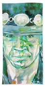Stevie Ray Vaughan- Watercolor Portrait Beach Towel