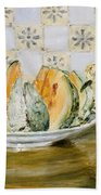 Still Life Of A Melon And A Vase Of Flowers Beach Towel