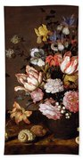 Still Life Of A Vase Of Flowers Beach Towel