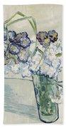 Still Life Vase Of Carnations Beach Towel by Vincent van Gogh