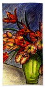 Still Life Vase With 21 Orange Tulips Beach Towel
