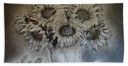 Still Life - Vase With 6 Sunflowers Beach Towel