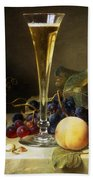 Still Life With A Glass Of Champagne Beach Towel by Johann Wilhelm Preyer