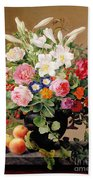 Still Life With Flowers And Fruit Beach Towel