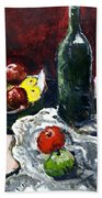 Still Life With Fruits And Wine Beach Towel