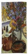 Still Life With Jug And African Bowl Beach Towel by Ernst Ludwig Kirchner