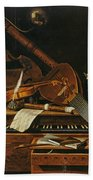 Still Life With Musical Instruments Beach Towel
