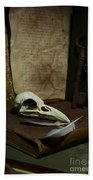Still Life With Old Books Rusty Key Bird Skull And Feathers Beach Towel