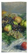 Still Life With Pears And Grapes Beach Towel
