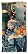 Still Life With Pitcher And Aubergines Oil On Canvas Beach Towel