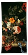 Still Life With Poppies And Roses Beach Towel