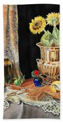 Still Life With Sunflowers Lemon Apples And Geranium  Beach Towel