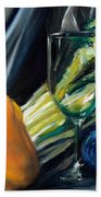 Still Life With Yellow Pepper Bok Choy Glass And Dish Beach Towel