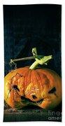 Stingy Jack - Scary Halloween Pumpkin Beach Towel by Edward Fielding