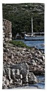 Roman Port Of Sa Nitja In Minorca - Stone And Sea Beach Towel