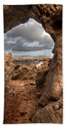 A Natural Stone Arch In North Coast Of Minorca Appears Like A Pass To One Thousand And One Night  Beach Towel