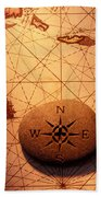 Stone Compass On Old Map Beach Towel by Garry Gay