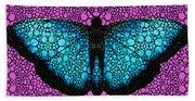 Stone Rock'd Butterfly 2 By Sharon Cummings Beach Sheet