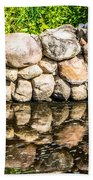 Stone Wall Reflection Beach Towel