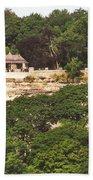 Stone Wall With Gazebo Beach Towel