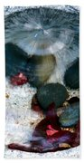 Stones And Fall Leaves Under Water-43 Beach Towel
