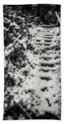 Stony Steps Covered With Snow Beach Towel