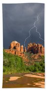 Storm Over Cathedral Rock Beach Towel