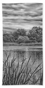 Storm Passing The Pond In Bw Beach Towel