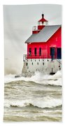 Stormy At Grand Haven Light Beach Towel