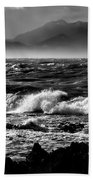 Stormy Coast New Zealand In Black And White Beach Towel