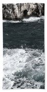 Mediterranean Sea And Rocks Sculpted By Wind And Salt In South Of Menorca Beach Towel