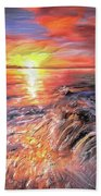 Stormy Sunset At Water's Edge Beach Towel