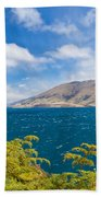 Stormy Surface Of Lake Wanaka In Central Otago On South Island Of New Zealand Beach Towel