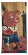Story Telling Pig With Family Beach Towel