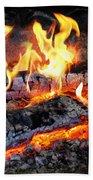Stove - The Yule Log  Beach Towel