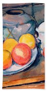 Straw Covered Vase Sugar Bowl And Apples Beach Towel
