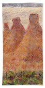 Straw Stacks Beach Towel by Georges Pierre Seurat