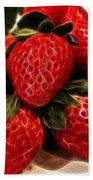 Strawberries Expressive Brushstrokes Beach Towel