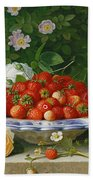Strawberries In A Blue And White Buckelteller With Roses And Sweet Briar On A Ledge Beach Towel by William Hammer