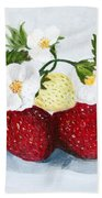 Strawberries With Blossoms Beach Towel