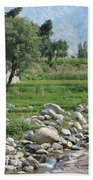 Stream Trees House And Mountains Swat Valley Pakistan Beach Towel